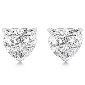 Women 2 carats heart cut diamond stud ear ring sol